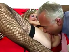 mature boy bonks young blond in nylons