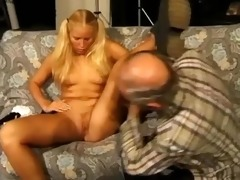 grandpa receives golden-haired with pigtails