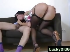 lucky old chap sucked off and drilled by younger