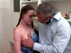 youthful hotty wazoo drilled in kitchen by mature