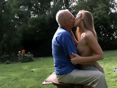 granddad cleans and fuck alexis\s bald slit