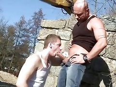 large dad bonks guy in the butt outdoor public