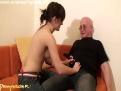 very cute hotty fucking an old dude