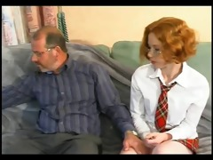 nerdy redhead coaxes a load from old fellow