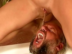 grandad and youthful gal pissing and fucking