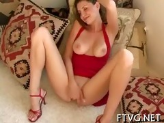 girlie plays with dildo