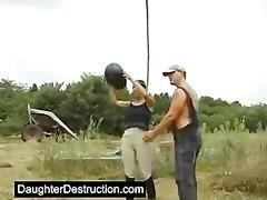 juvenile daughter screwed hard in her ass