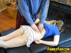 lascivious father in law plays with a beauty