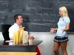 golden-haired schoolgirl in short skirts