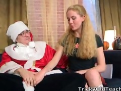 charming youthful blonde acquires to fuck santa