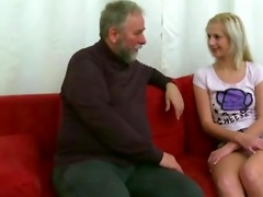 blonde cutie screwed by old man when her