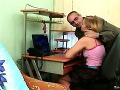 stretchy schoolgirl receives sexy sticky cum