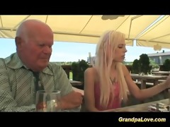 golden-haired hottie fucking an old chap and