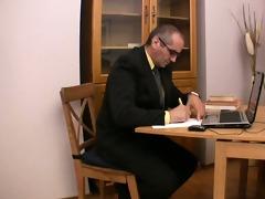 elderly teacher satisfied by pretty legal age