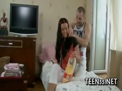 tight legal age teenager wet crack gets stretched
