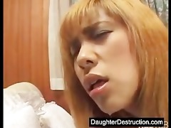 youthful daughter abused in her face hole and