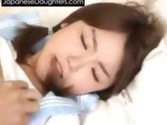 youthful japanese daughter take dad shlong up her
