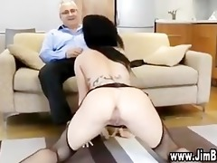 busty bitch in stockings receives screwed