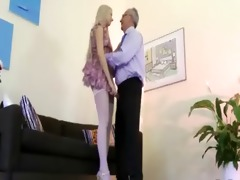 lovely chick seduces old stud