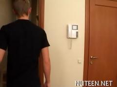 teenie bouncing on pecker